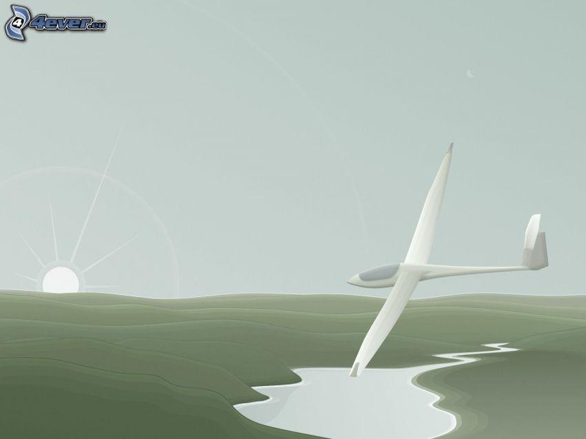 Segelflugzeug, See, Sonne