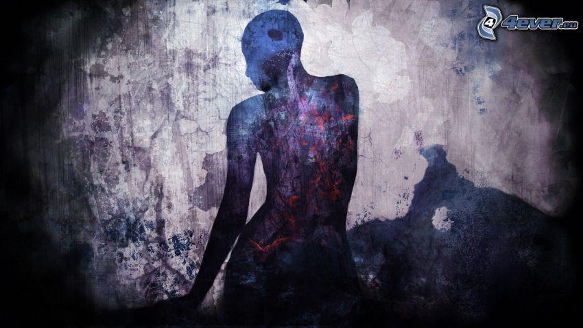 Silhouette der Frau, Kleckse