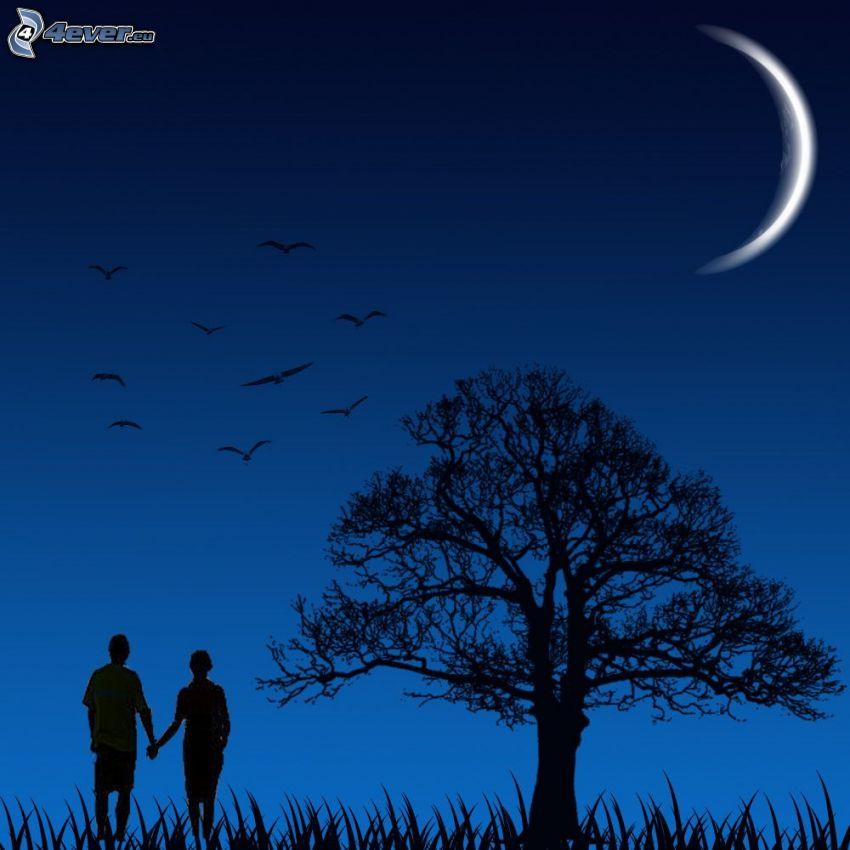 Silhouette des Paares, Silhouette des Baumes, Mond