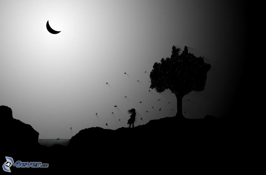 Silhouetten, Baum, Mädchen, Mond