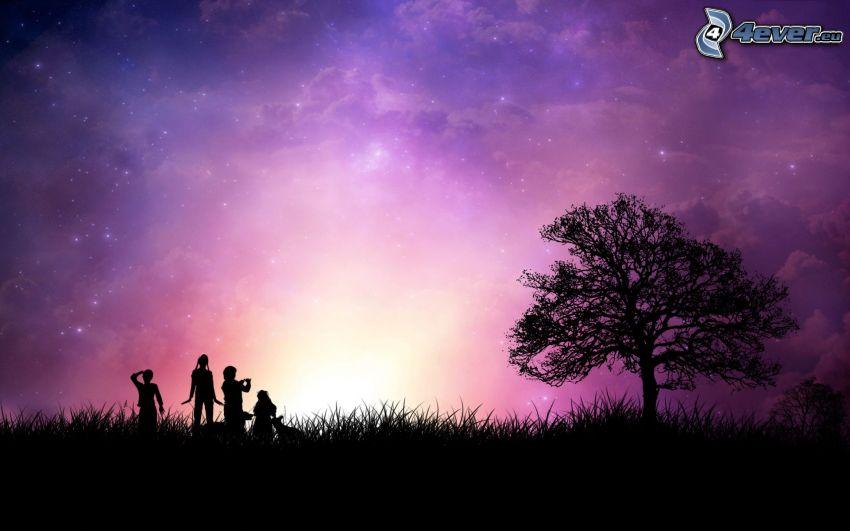 Silhouetten von Menschen, Baum, Himmel
