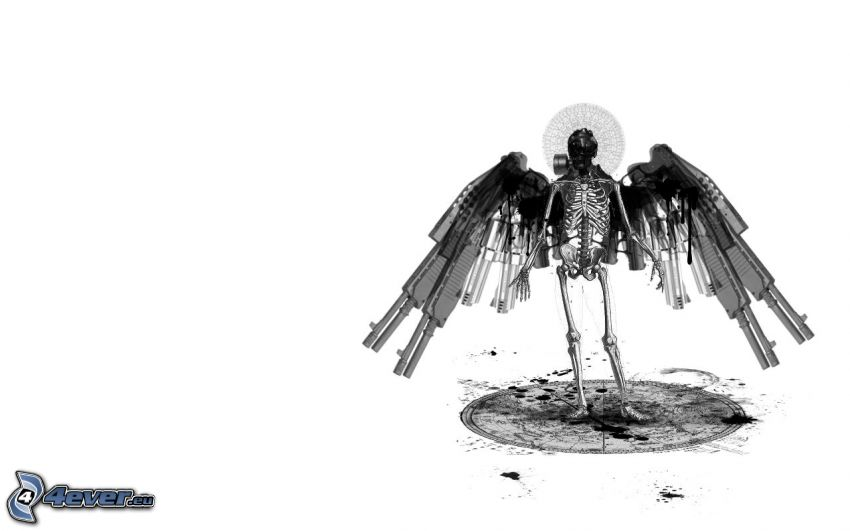 Skelett, Flügel, Waffen