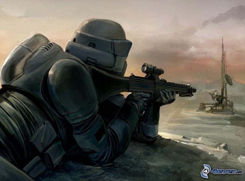 Soldat mit einem Gewehr