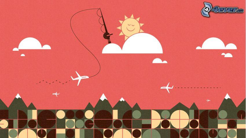 Sonne, Fischangel, Flugzeuge, Wolken