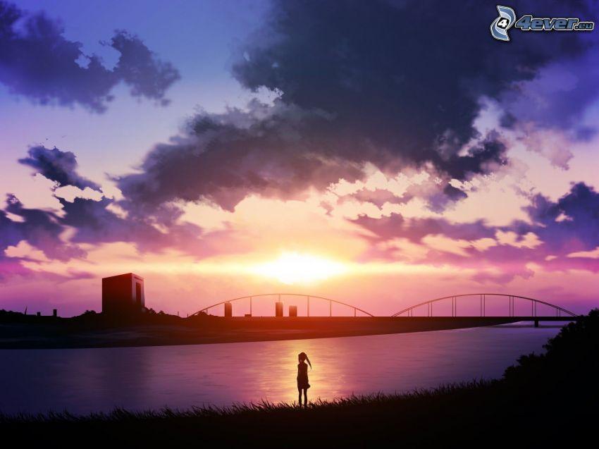 Sonnenuntergang, Brücke, Silhouette der Frau, Wolken