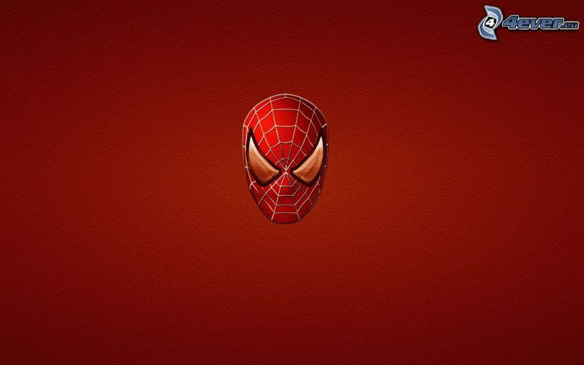 Spiderman, Maske, roter Hintergrund