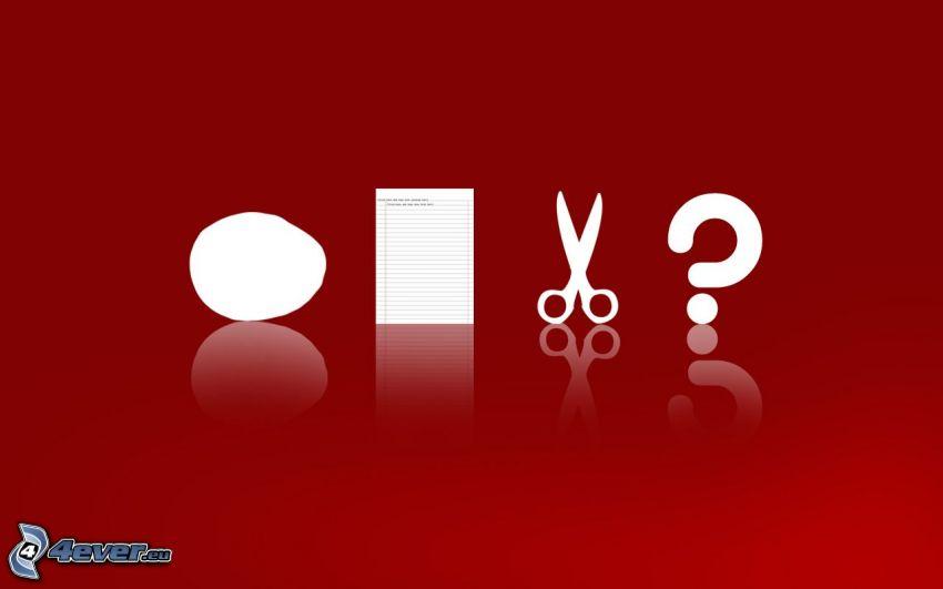 Stein, Papier, Schere, Fragezeichen