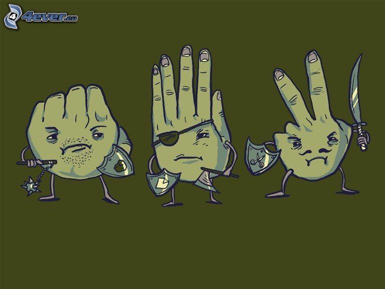 Stein, Papier, Schere, Hände, Piraten