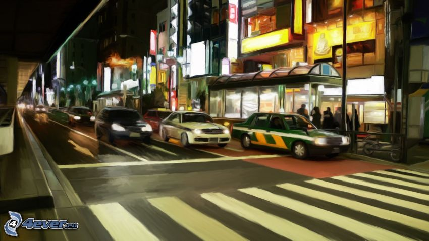 Straße, Autos, Nachtstadt