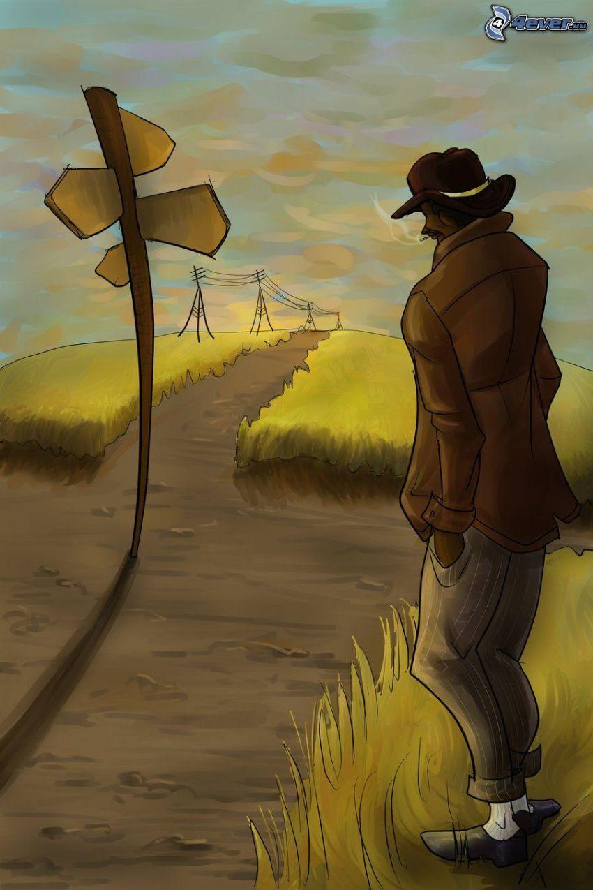 Straße, Wegweiser, eingezeichneter Kerl, elektrische Leitung