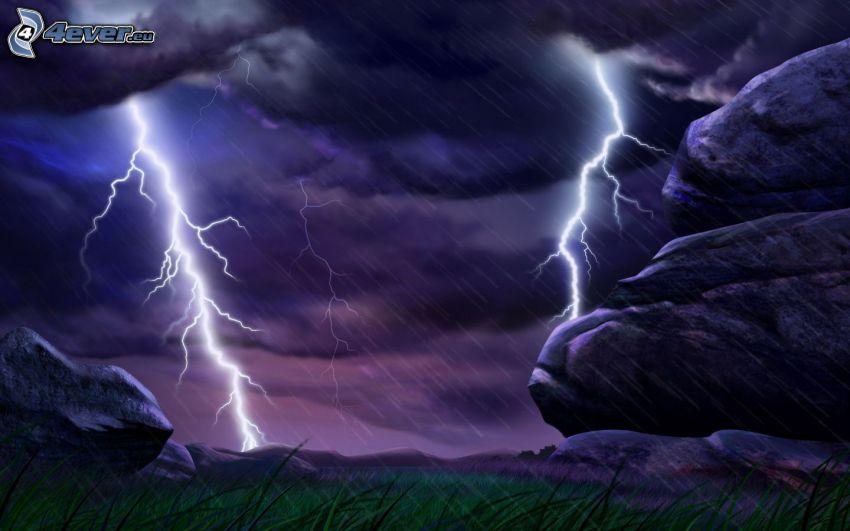 Sturm, Blitze, Regen, Felsen