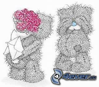Teddybär, Briefumschlag, Blumen