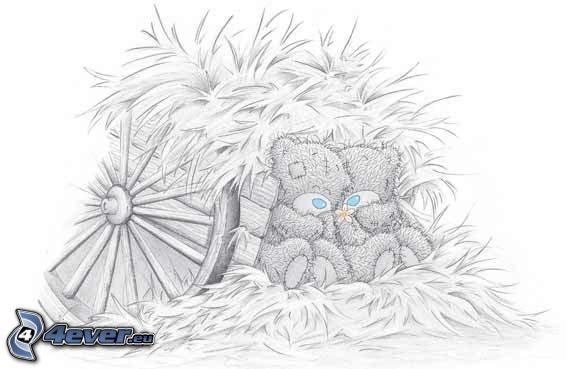 Teddybär, Stroh, Wagen
