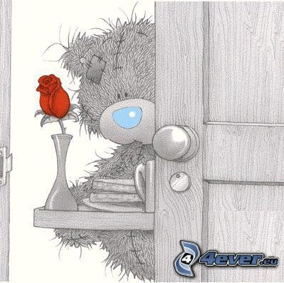 Teddybär mit Blumen, Rose, Tür