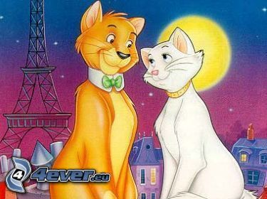 The Aristocats, gezeichnetes Paar, Katzen, Romantik, Eiffelturm