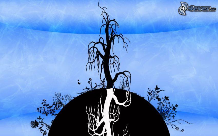 trockener Baum, Silhouette des Baumes, Erde, Blumen