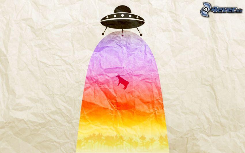 UFO, Kuh, Silhouette, Regenbogenfarben, Papier