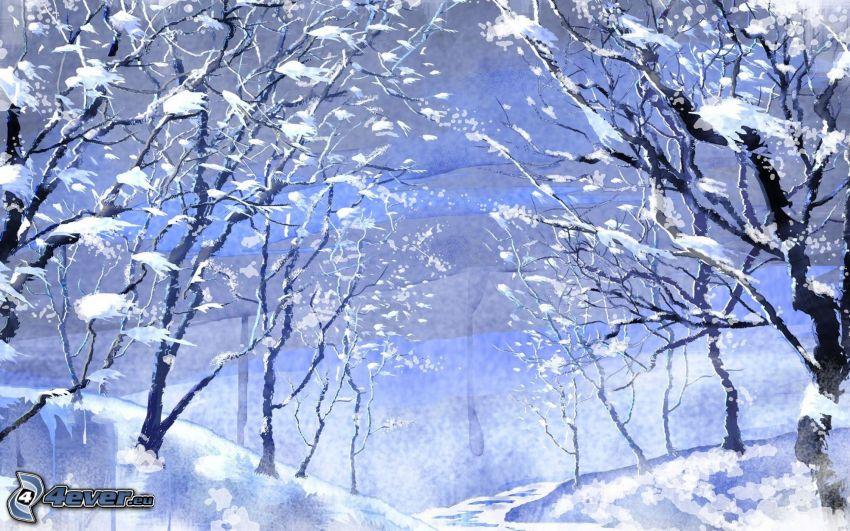 verschneite Bäume, verschneite Landschaft