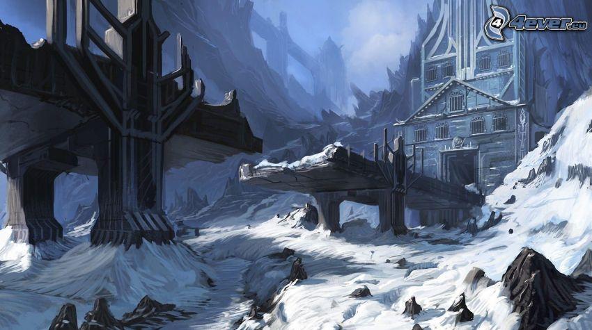 verschneite Landschaft, cartoon-Landschaft, zerstörte Brücke