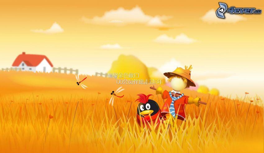 Vogelscheuche, Vogel, gelbes Feld, Libelle