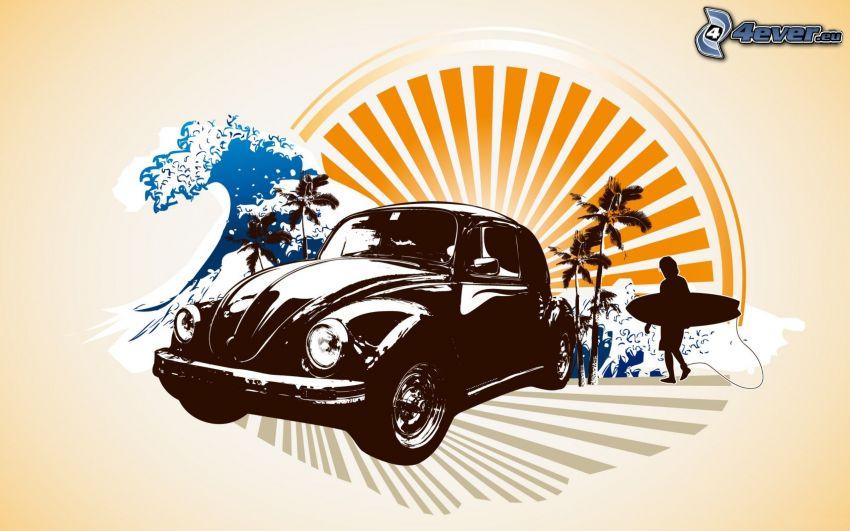 Volkswagen Beetle, Oldtimer, Sonne, Surfer