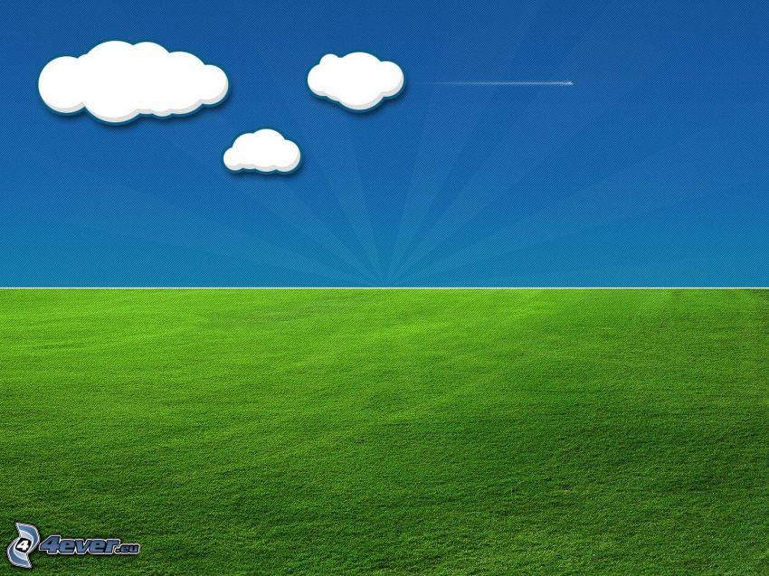 Wiese, Himmel, Wolken