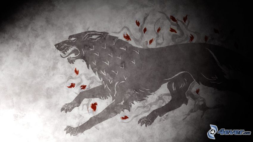 Winter is coming, schwarzer Wolf