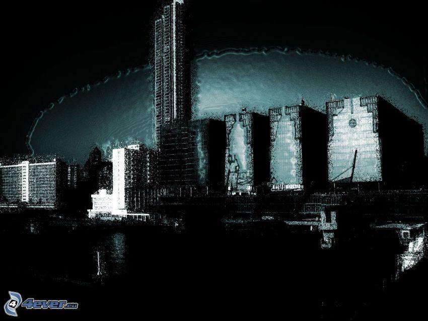Wolkenkratzer, Nachtstadt, eingezeichnete Stadt