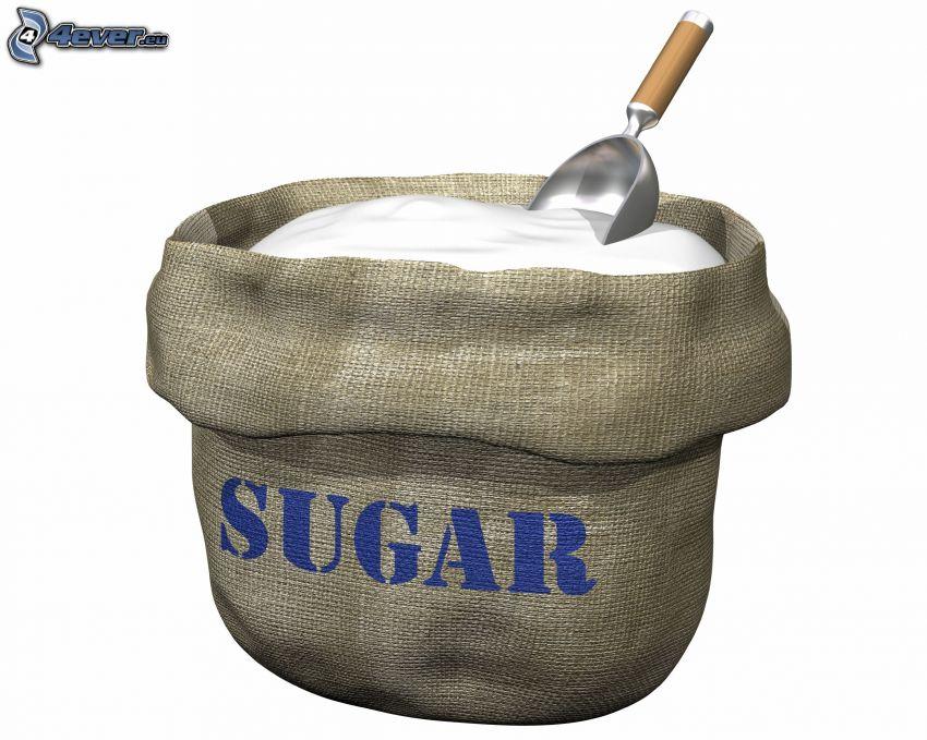 Zucker, sugar, Sack, Schöpflöffel