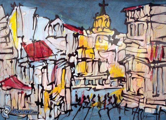 abstrakt stad, kyrka, tecknad stad