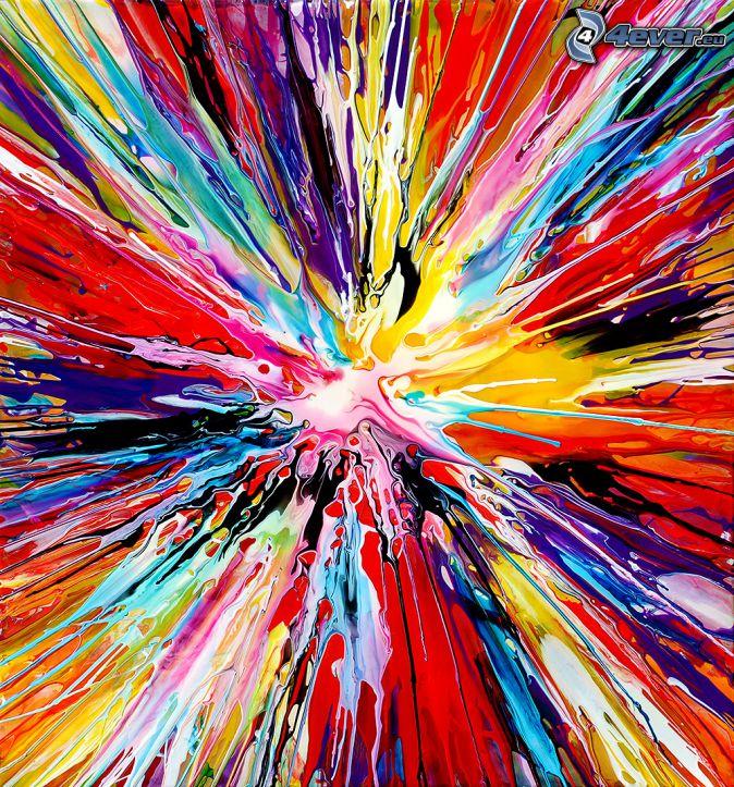 färgfläckar, färggranna linjer