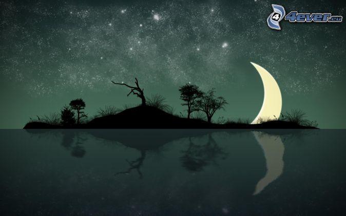 ö, siluetter av träd, måne, spegling, stjärnhimmel, tecknat