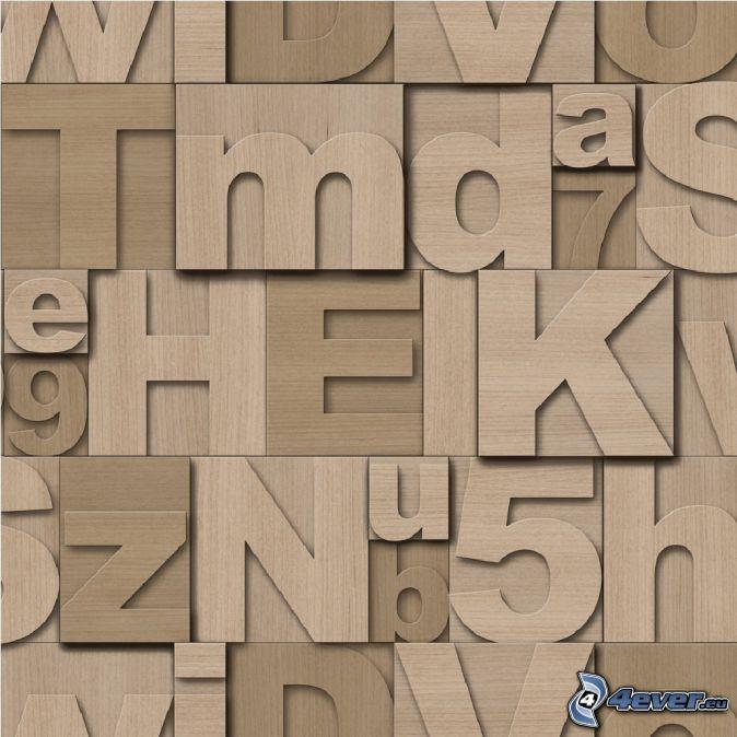bokstäver, nummer, trä