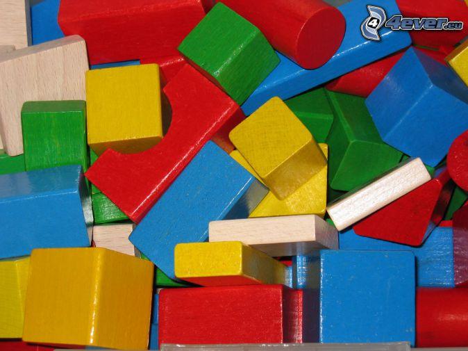 träklossar, leksak, färgade tärningar