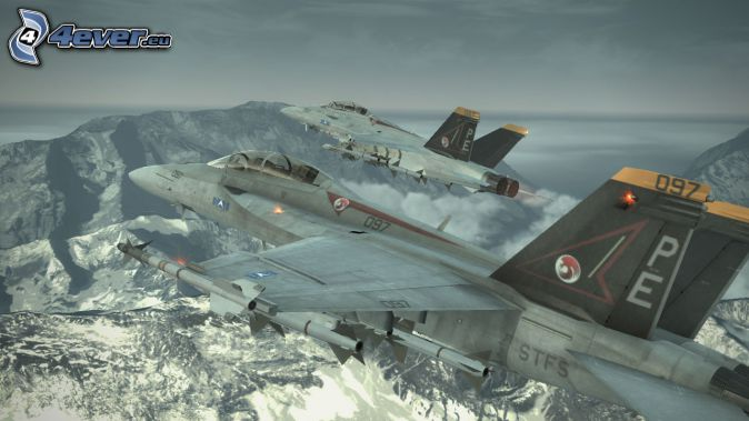 Ace Combat 6, jaktplan, klippiga berg