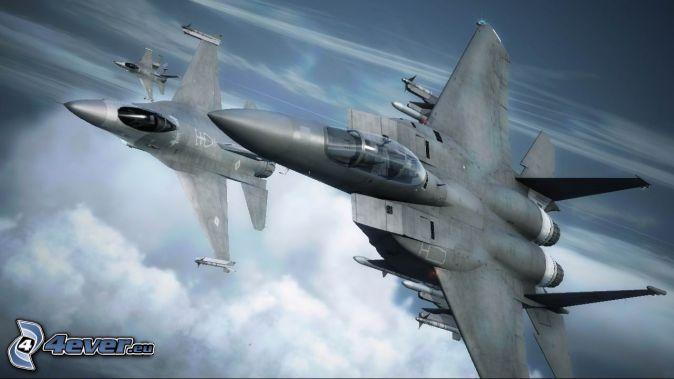 Ace Combat 6, jaktplan, ovanför molnen