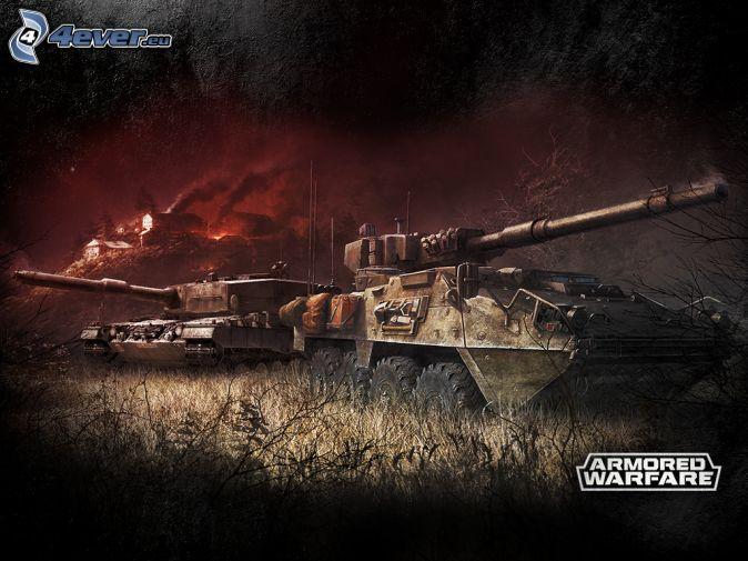 Armored Warfare, tankar, brinnande hus