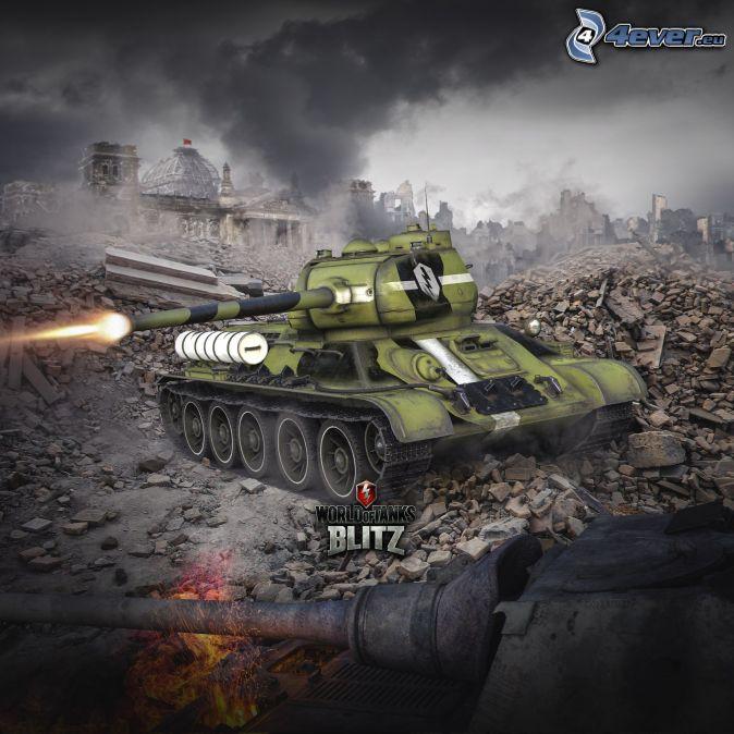 World of Tanks, tankar, skytte, förstörd stad