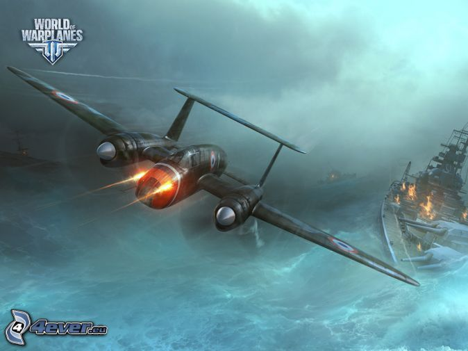 World of warplanes, flygplan, fartyg, skytte, stormigt hav
