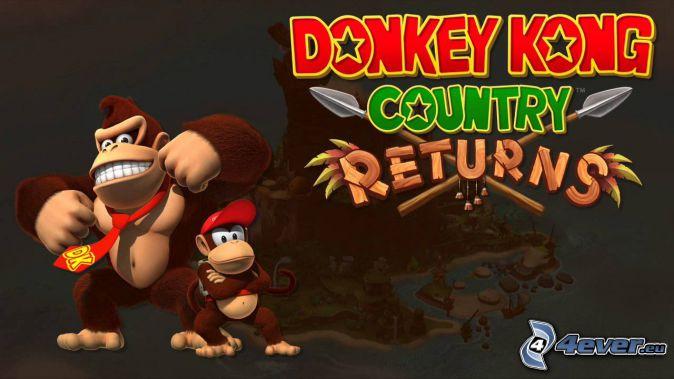 Donkey Kong Country Returns, gorillor, leende, slips