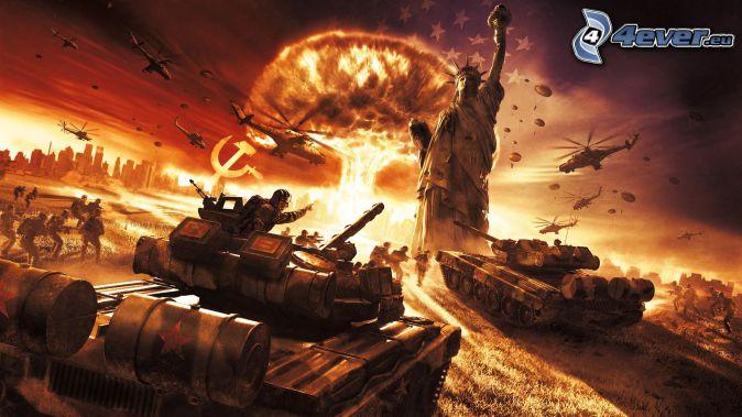 World in Conflict, tankar, Frihetsgudinnan, explosion, militära helikoptrar, militärer