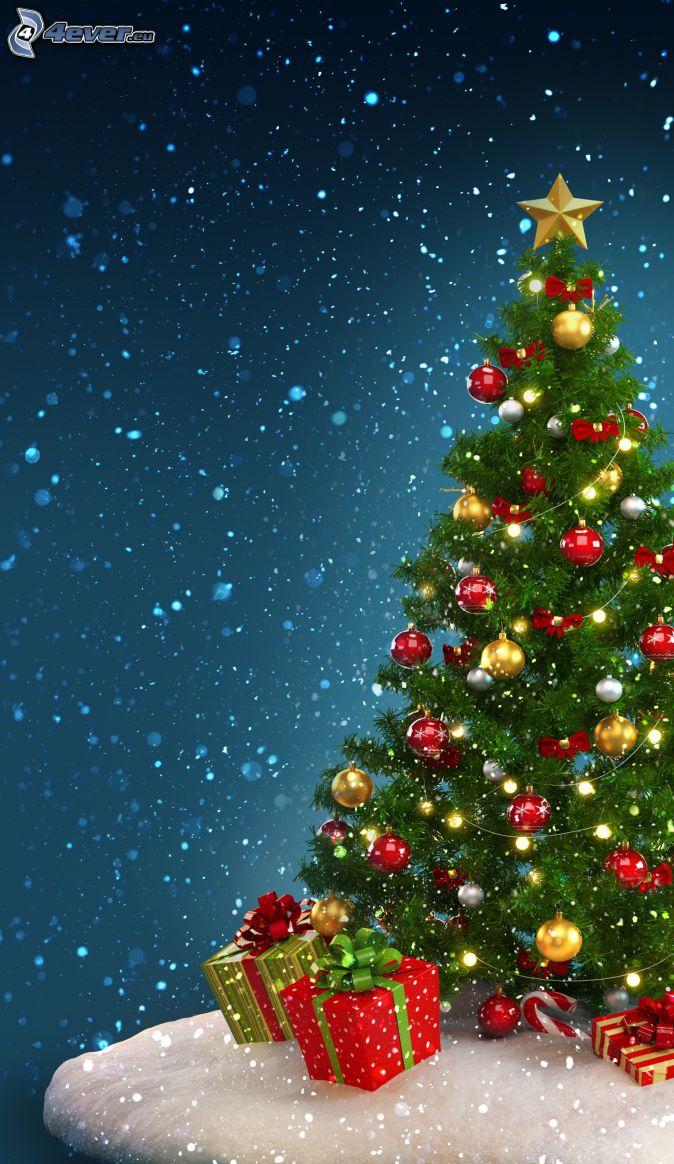 julgran, julgranskulor, gåvor, snöfall, tecknat