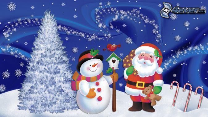 Santa Claus, snögubbe, snöigt träd, fågelholk, snöflingor, tecknat