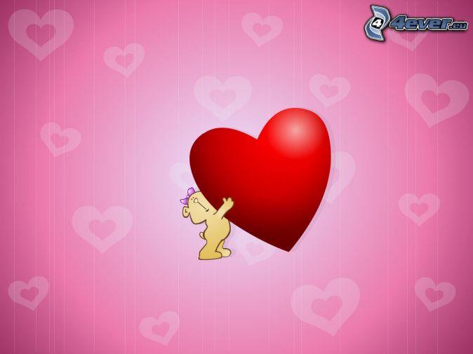 nalle med hjärta , rött hjärta , rosa hjärtan