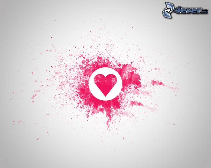 rosa hjärta, fläck, vit bakgrund