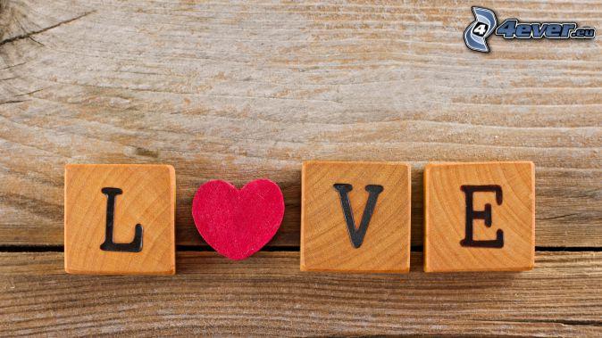 love, träklossar, hjärta