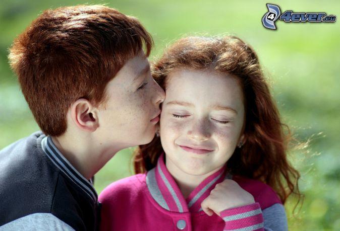 barn, par, puss, leende