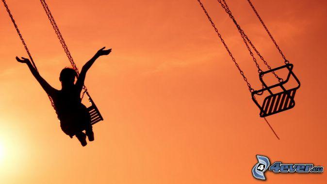 karusell, glädje, silhuett av kvinna