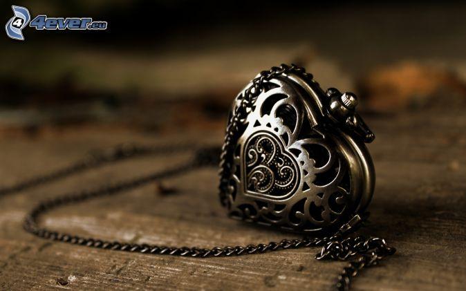 silverhänge, hjärta, kedja