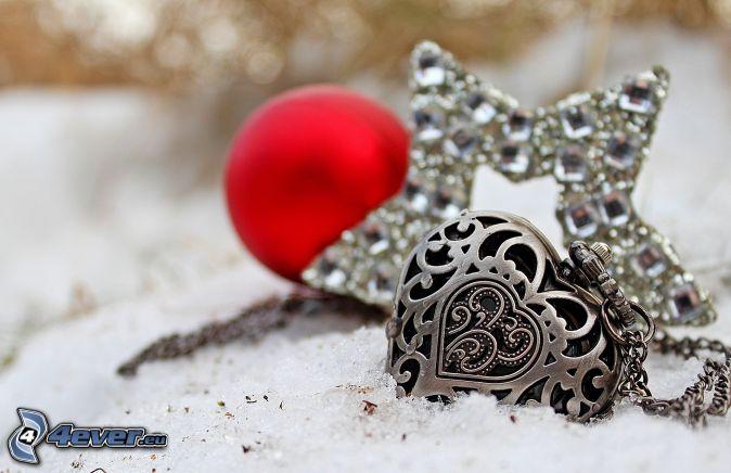 silverhänge, hjärta, stjärna, snö